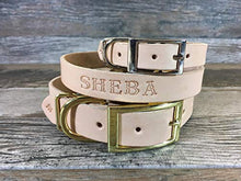 Handmade Personalised Off-White Leather Dog Collar with FREE Name Engraving