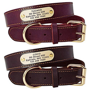 Genuine Leather Personalised Dog Collars with Nameplate ID Tags