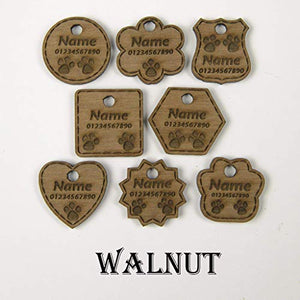 Wooden Dog Tags - Engraved with Name and Phone Number, 6 Solid Wood Types