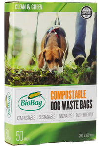 Biodegradable Poo Bags, 100% Cornstarch, 50 bags