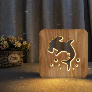 Wooden 3D Shark Lamp - yeshark
