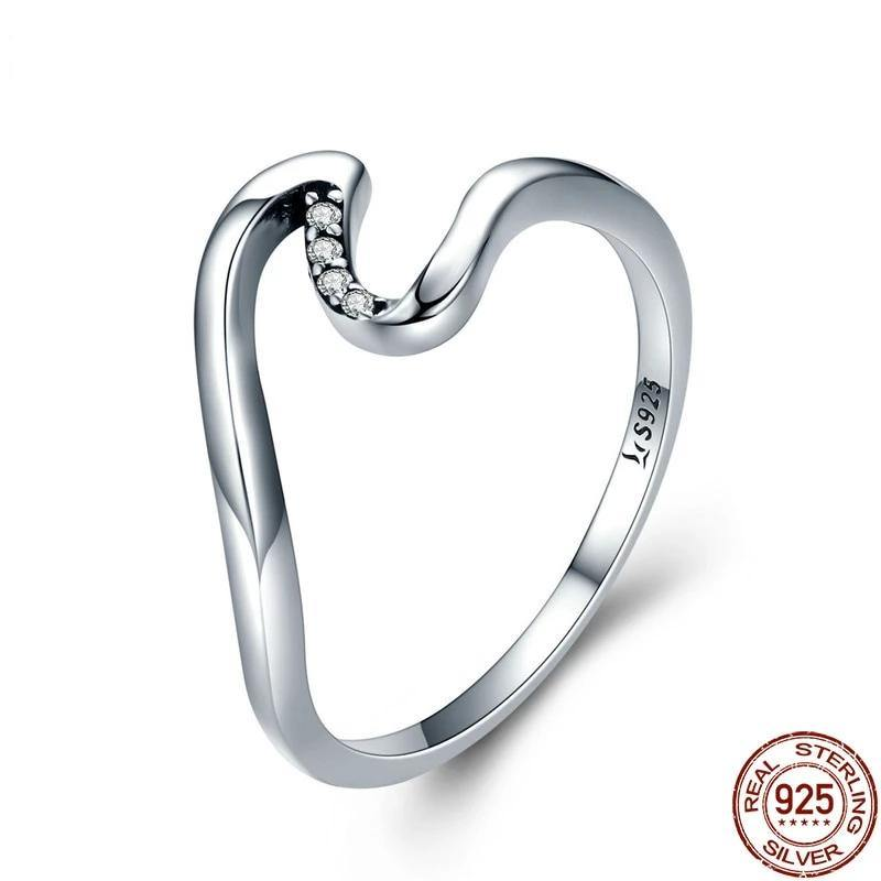 Wave ring sterling silver - yeshark
