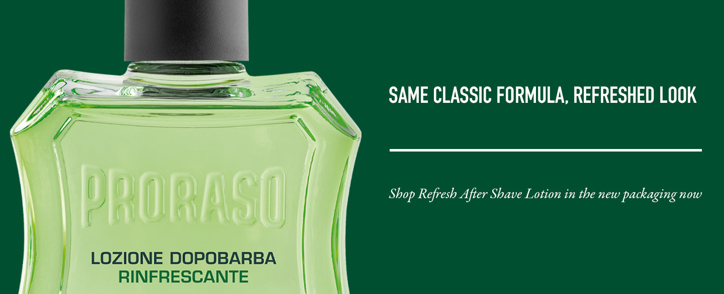 Same classic formula, refreshed packaging! Proraso After Shave Lotion, Refreshing and Toning formula, is a splash that cools and tones the skin after shaving, and completes the shaving ritual.