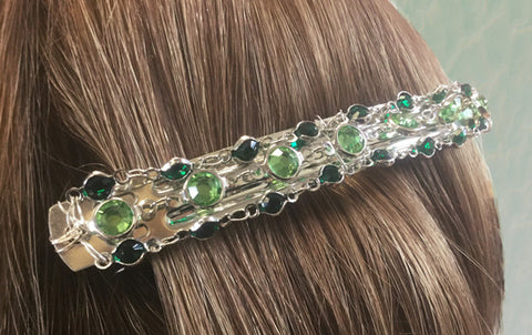 Barrette madewith Solid Oak Estrella linked crystals, wired onto a plain hairclip