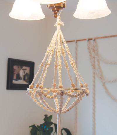 beaded chandelier macrame kit shown in home setting