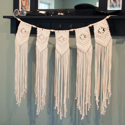 Solid Oak beaded banner kit, shown in foyer