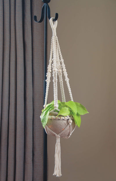 Solid Oak macrame kit for large beaded lant hanger, shown in home setting