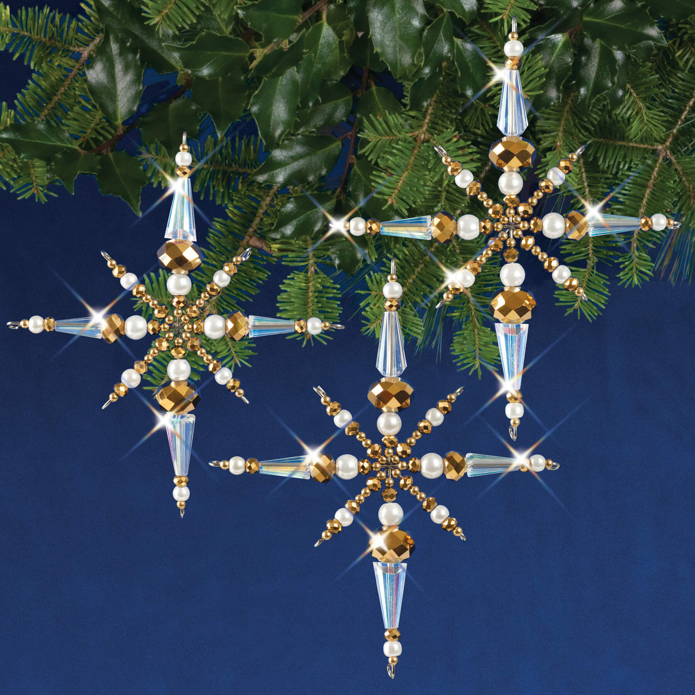 Sparkling Snowflakes Makes Solid Oak SNOWFL Holiday Beaded Ornament Kit