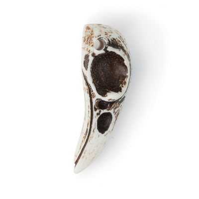 side view of raven skull pendant, showing hole for hanging near the top