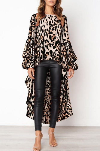 Fashion Leopard Print Asymmetric Hem Lantern Sleeve Blouse
