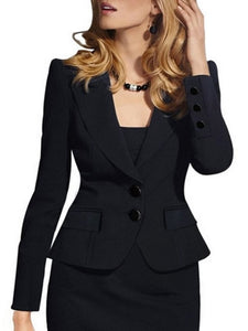 Chic Lapel With Flap Pockets Plain Blazer