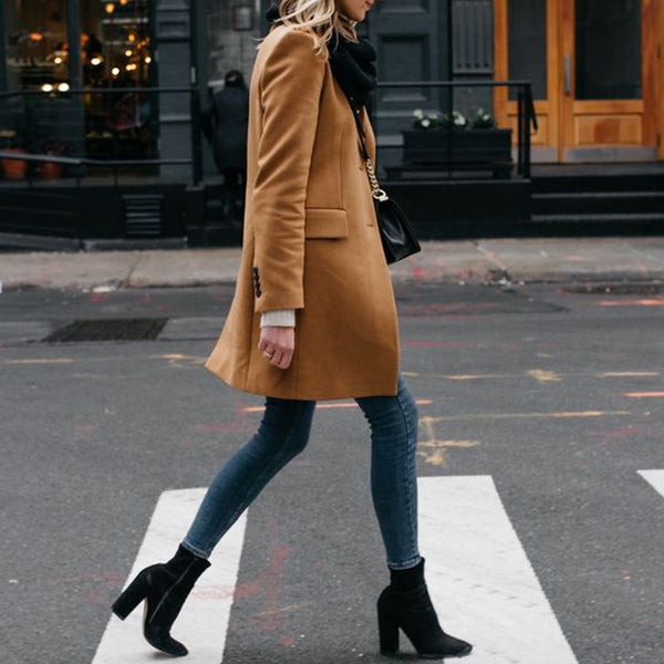 Fashion Lapel Solid Color Long-sleeved Woolen Coat