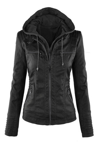 Black Fashion Zipped Jacket With Removable Top