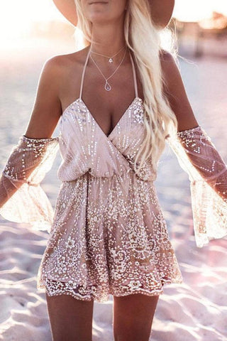 Two-Way Off Shoulder Sequins Romper