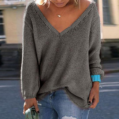Solid Color V Neck  Plain Sweaters