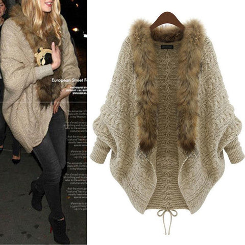 Women's Fur Collar Sweaters Knit Overcoat