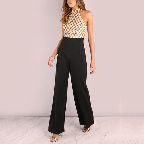 Sexy Hanging Neck Splicing Flared Jumpsuits