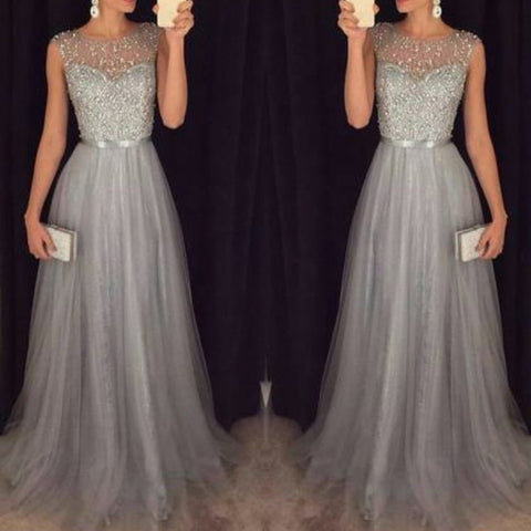 Chiffon Sleeveless Sequined Evening Wedding Dress