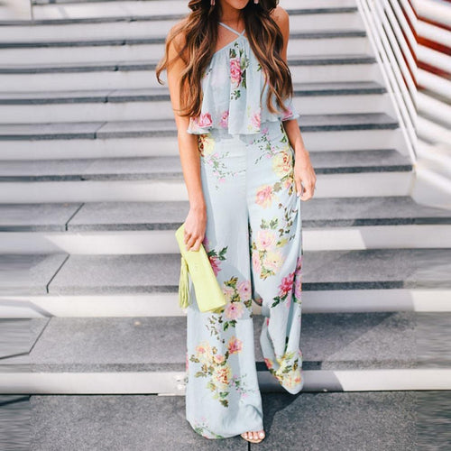 Bohemia Style Floral Printed Jumpsuits