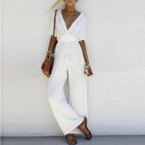 Deep V Collar Holiday Jumpsuits