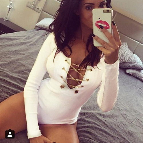 Fashion Deep V Neck One Piece Lace-Up Romper