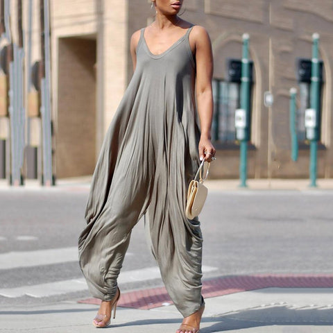 Casual Stretchy Spaghetti Strap Loose Jumpsuits