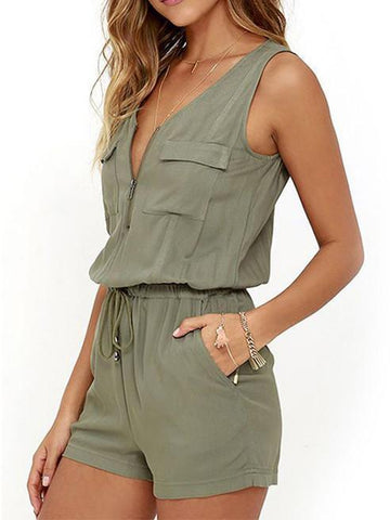 Casual Army-Green V Neck Sleeveless Lace-Up Romper