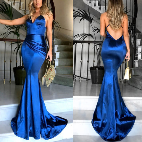 Sexy Elegant Backless Evening Maxi Dress