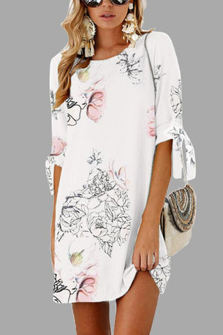 Fashion Floral Print Half Sleeves Mini Dress