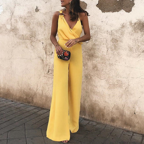 Sexy Fashion Yellow Sleeveless Jumpsuits