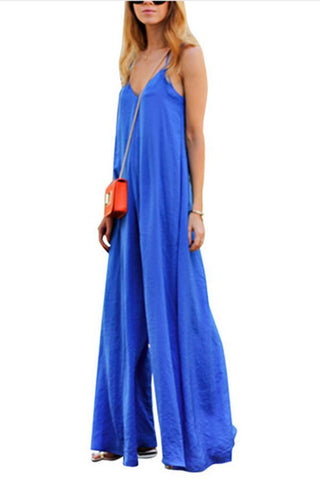 Stylish Casual Blue Plain Jumpsuits