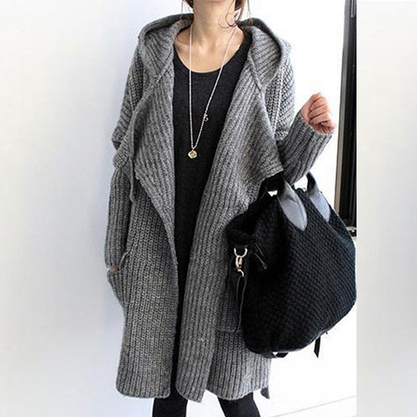Hooded Flap Pocket Belt Plain Coat