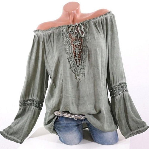Summer Chiffon Women Open Shoulder  Long Sleeve Blouses