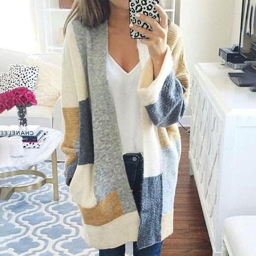 Color Block Casual Ribbed Cardigan