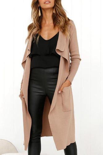 Asymmetric Neck  Plain Trench Coat