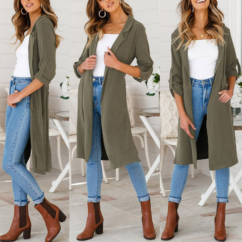 Sexy Lapel Open Slit Hem Outwear