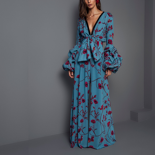 Sexy Deep V Collar Floral Printed Elastic Waist Jumpsuits