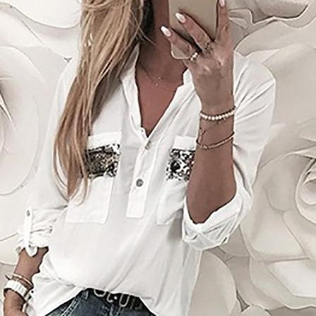 Solid Color V-Neck Sequined Pocket Loose Long-Sleeved Blouses