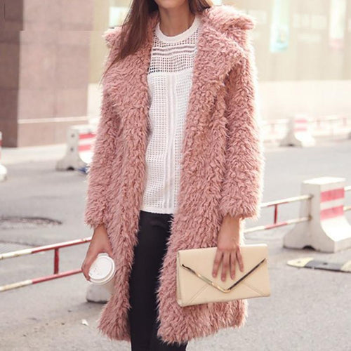 Mid-Length Lapel Furry Ladies Wool Outwear