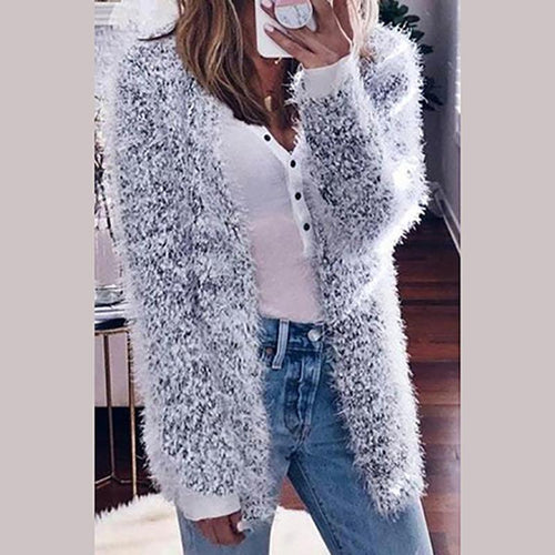Warm Solid Color Long-Sleeved Plush Outwear