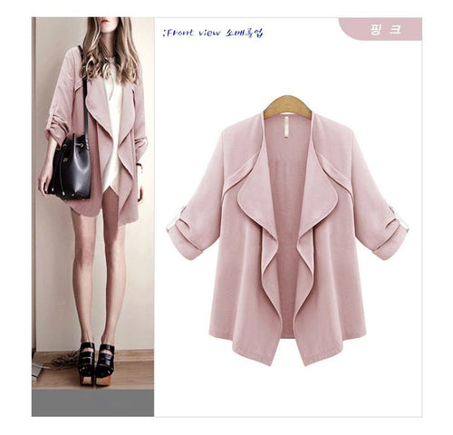 Large Size Solid Color Women's Shirt Cardigan Outwear