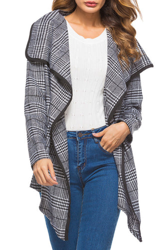 Autumn Lapel  Gingham Casual  Outerwear