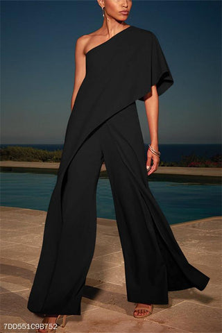 Sexy Single Shoulder Pure Color High-Waisted Wide-Legged Jumpsuits