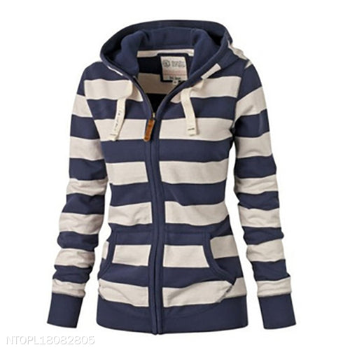 Stripe Loose Long Sleeve Hoodies