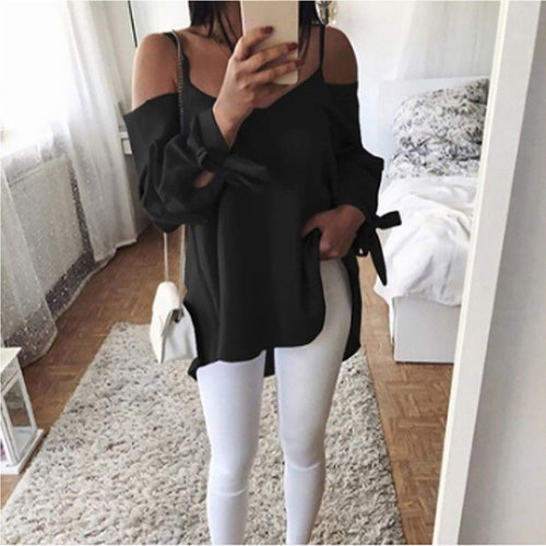 V-Neck Sling Solid Color Strap Long Sleeve Shirt