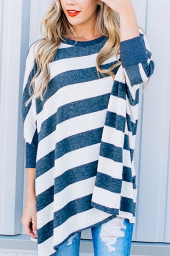 Round Neck  Striped  Batwing Sleeve Sweatershirts