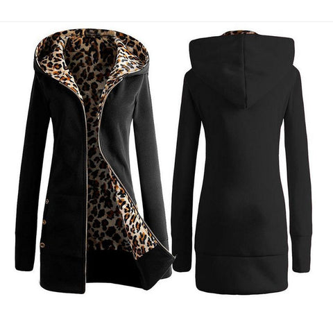 Long Sleeve Thick Hoodies Leopard Outerwear