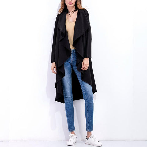 Winter Lapel Solid Color Irregular Hem Coat Trench