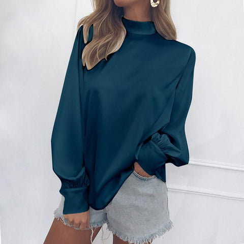A Baggy Turtleneck Lantern Sleeve Snow Spinning Blouse