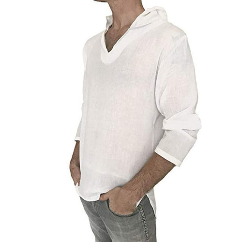 Casual V Collar Cotton And Linen Thin Plain T-Shirt